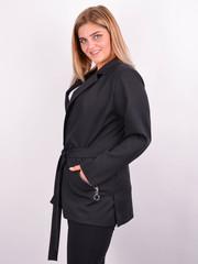 Кира. Стильный женский жакет plus size. Черный.