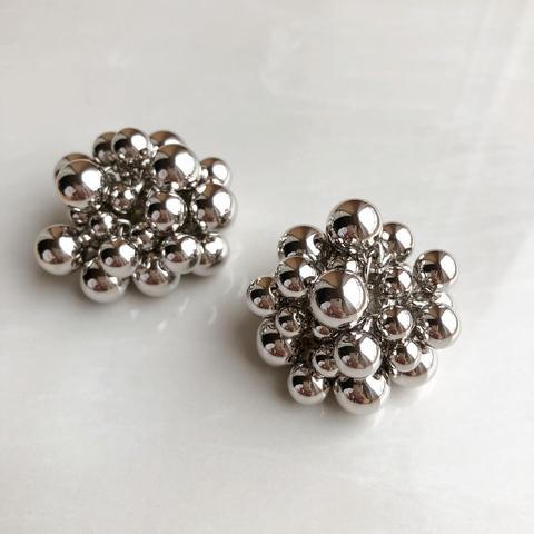 Серьги Бабл, 4 см, серебряный цвет