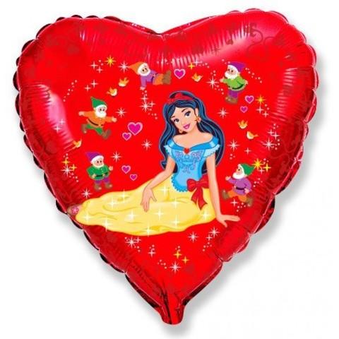 Шар сердце Белоснежка и гномы, 46 см