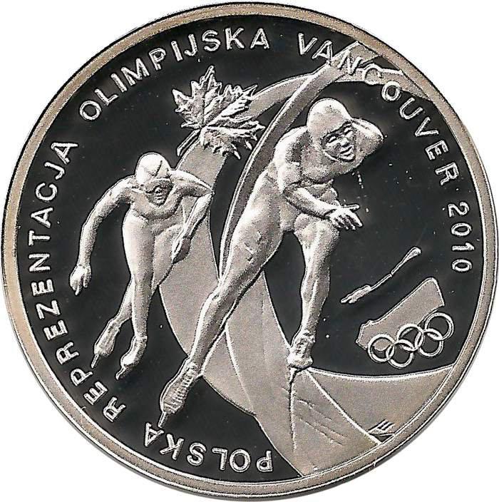 10 злотых. Ванкувер. XXI Зимние Олимпийские игры. 2010 год. Польша.