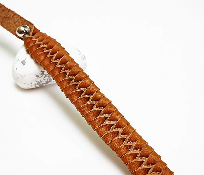 BL807-2 Браслет ручной работы из коричневого кожаного шнура фото 03