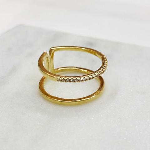 Кольцо двойное незамкнутое с дорожкой цирконов (золотистый)