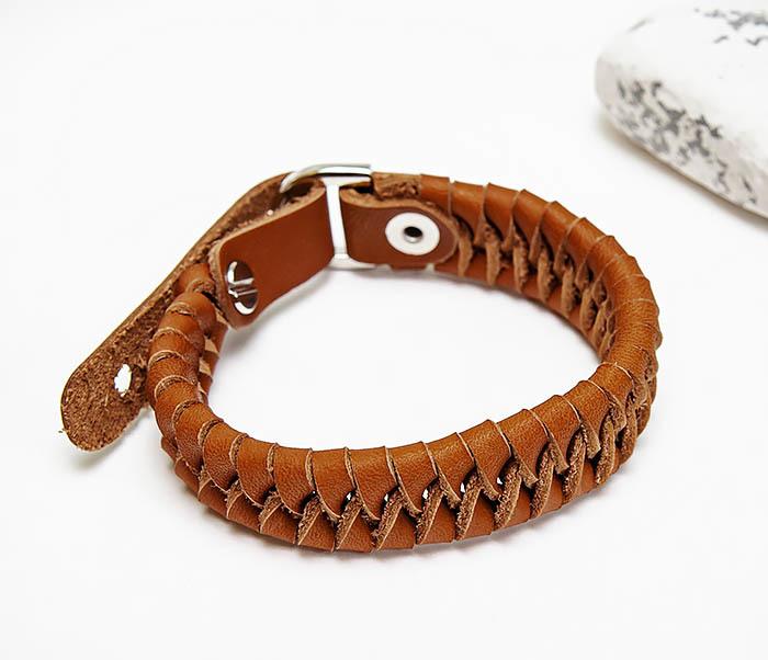 BL807-2 Браслет ручной работы из коричневого кожаного шнура фото 04