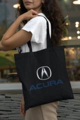 Женская сумка-шоппер с принтом Акура (Acura) черная 001