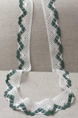 Кружево хлопковое, цвет : белый + зеленый