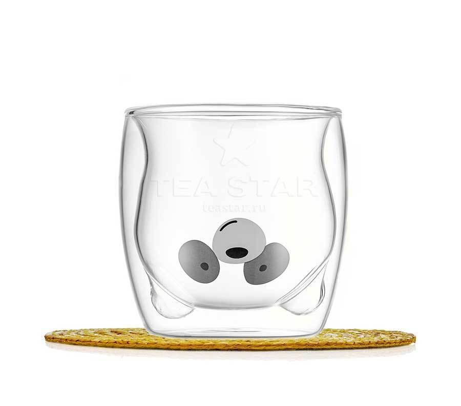 """Все товары Стакан стеклянный с двойными стенками в форме медведя """"Панда"""", 250 мл. stakan_panda1_200ml-teastar.jpg"""