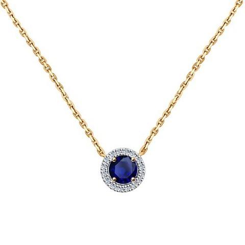 2070008 - Колье из золота с бриллиантами и сапфиром
