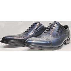 Модельные туфли броги мужские Ikoc 3805-4 Ash Blue Leather.