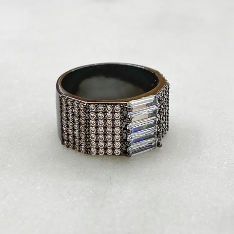 Кольцо Zircon с пале и багетными цирконами (черное родирование, юв.сплав)