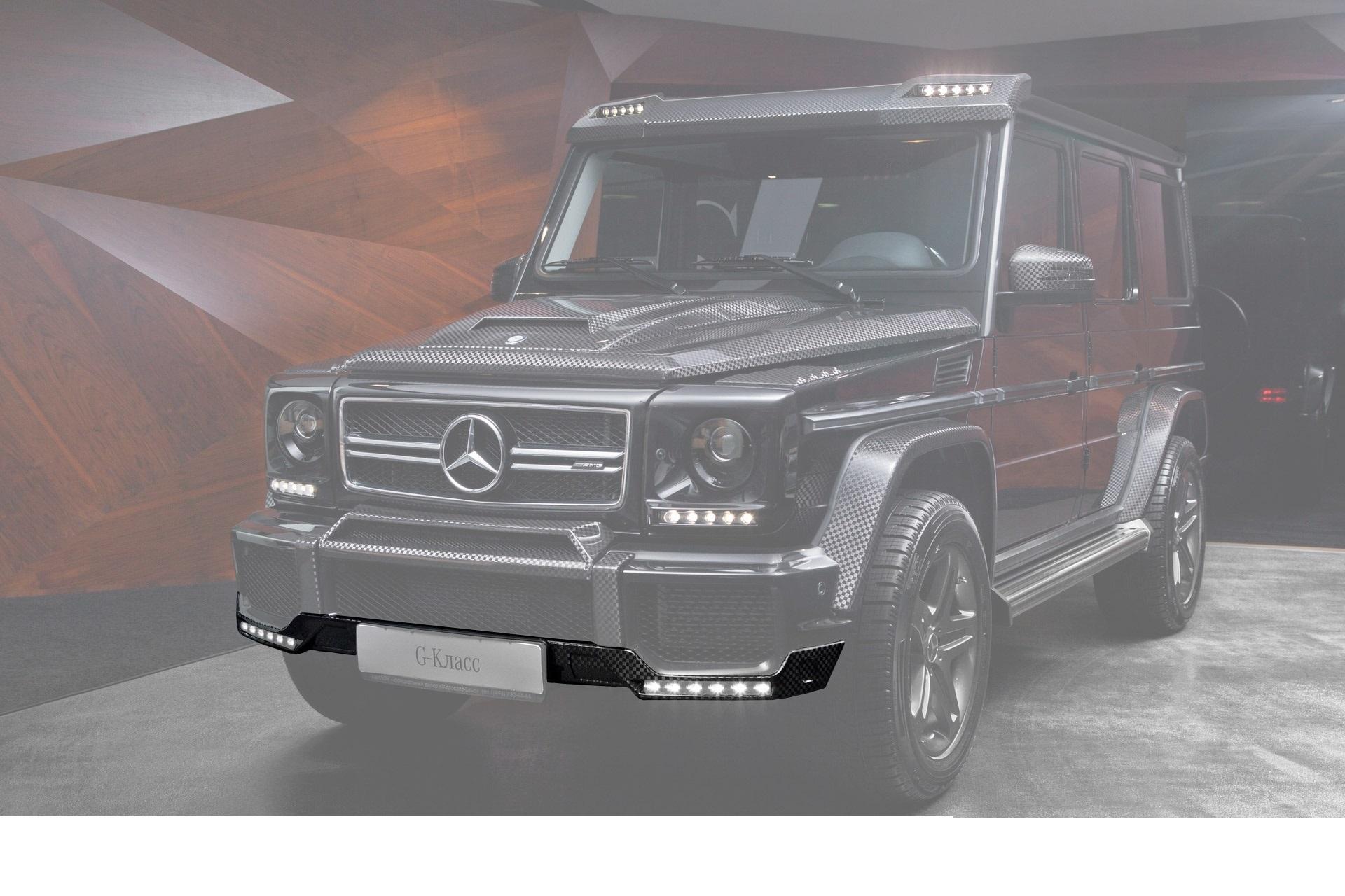 Карбоновый спойлер переднего бампера Brabus Style для Mercedes G-class W463