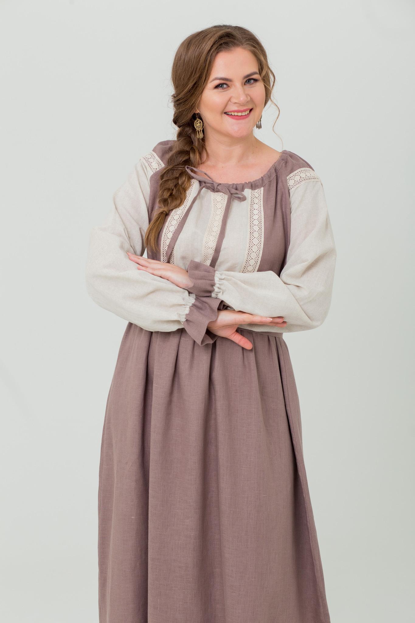 Платье из льна в пол Тихий вечер с кружевом