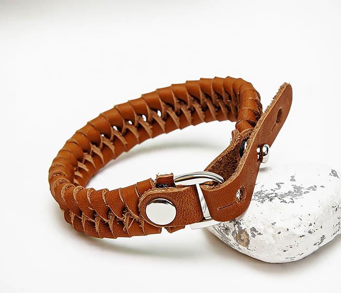 BL807-2 Браслет ручной работы из коричневого кожаного шнура фото 06