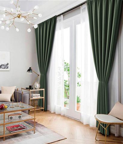 Комплект штор рогожка Раймонда зеленый