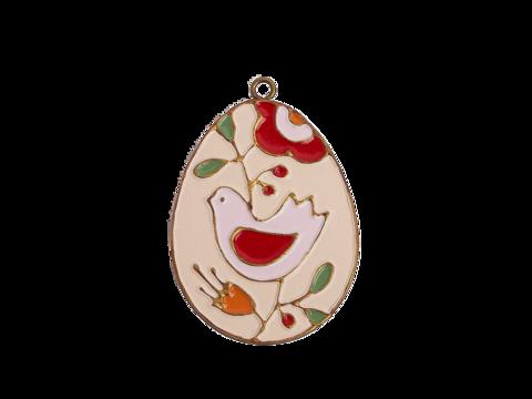 Пасхальное украшение Яйцо с Птицей, цвет: античный белый