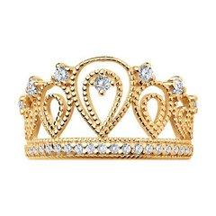 93010365 - Кольцо «Корона» из золоченого серебра