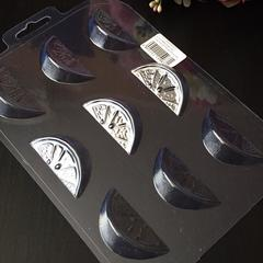 Пластиковая форма для шоколада ср. ДОЛЬКИ АПЕЛЬСИНА 9в1 (размер 50х25мм.)