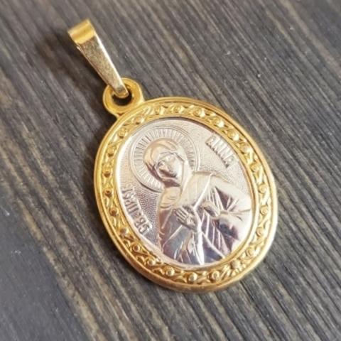 Нательная именная икона святая Анна с позолотой кулон с молитвой