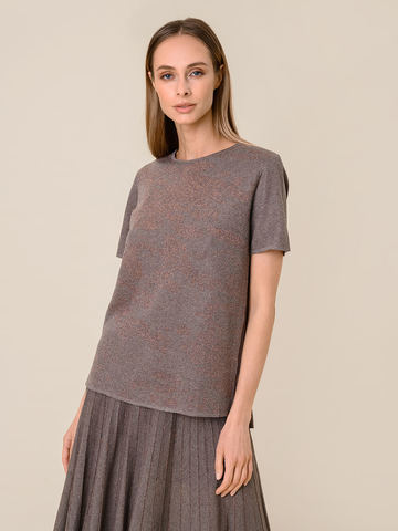 Женская футболка коричневого цвета из вискозы - фото 2