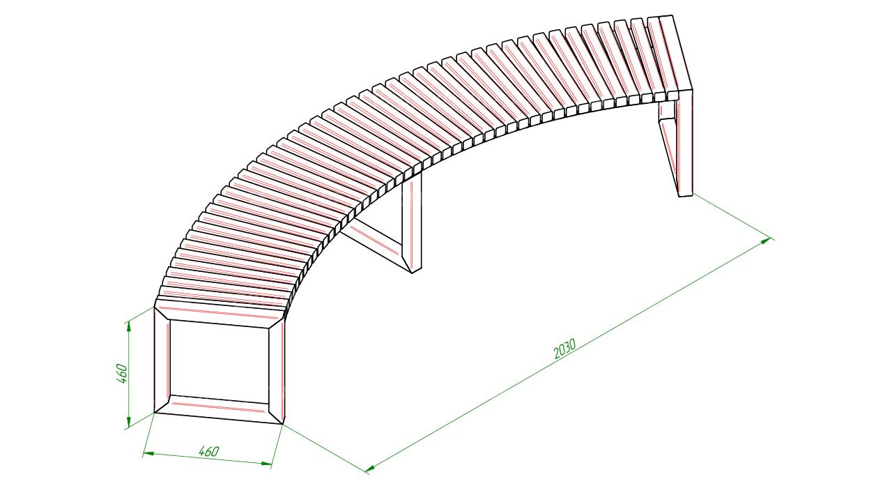 Полукруглая скамейка SCAM0012