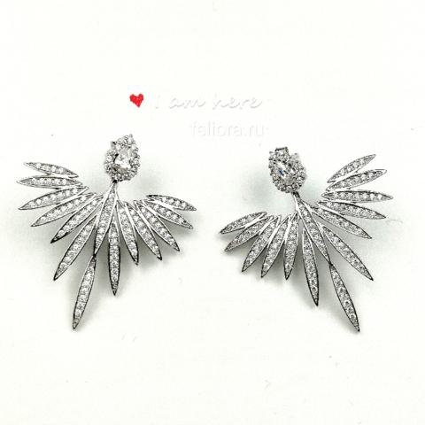 AE8823- Серьги-джекеты «Крылья Ангела» из серебра с цирконами в стиле APM MONACO