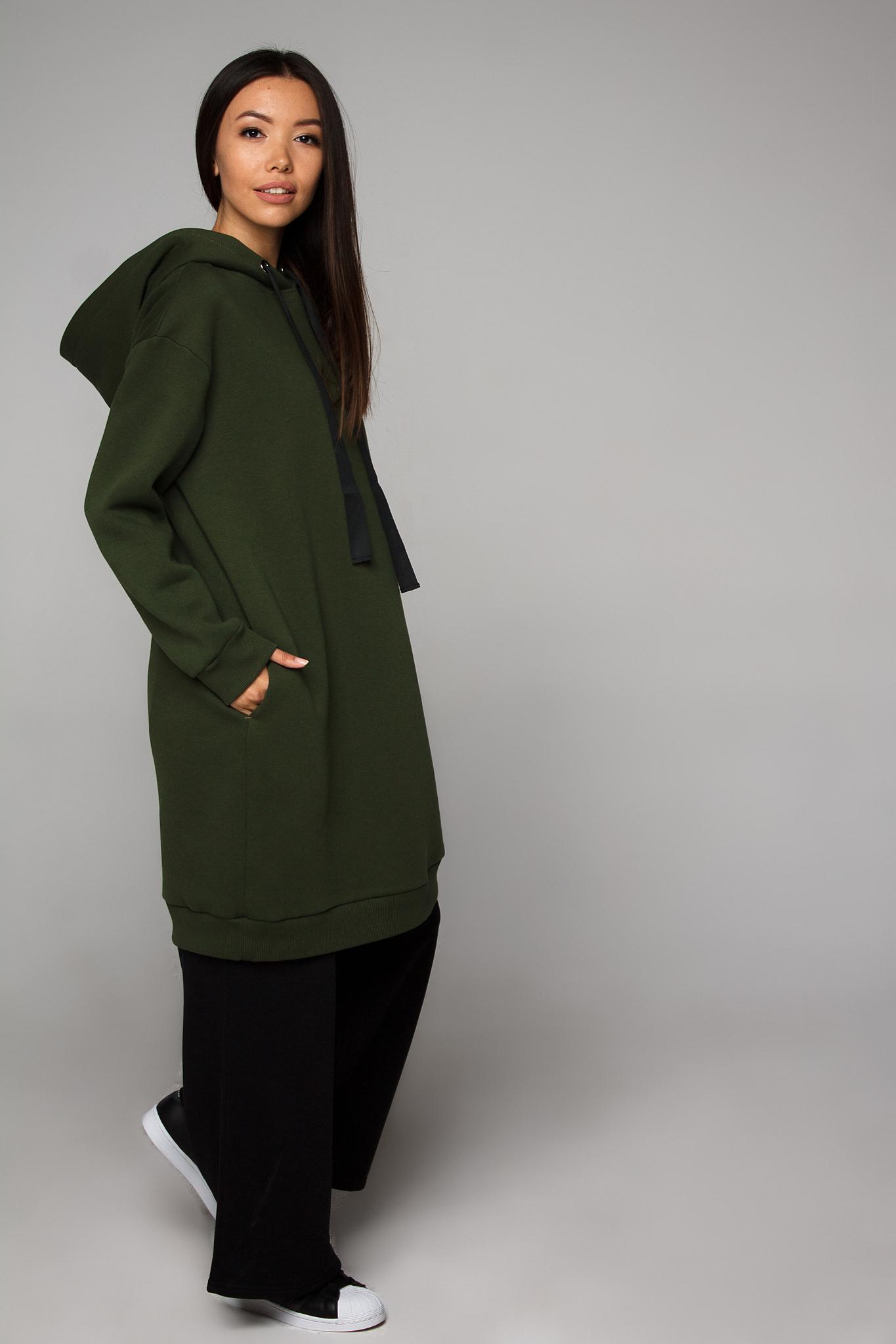 Платье-худи оливковое с начесом YOS от украинского бренда Your Own Style