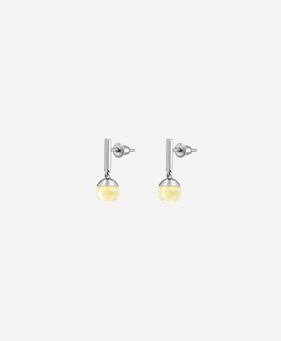 Серьги-фонарики со светлым янтарём