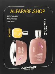 Бонус: 15 мл масла. Трио с маской для увлажнения волос Semi Di Lino Moisture Жидкие кристаллы + Мёд + Лён