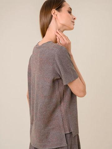 Женская футболка коричневого цвета из вискозы - фото 4