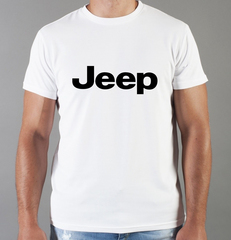 Футболка с принтом Jeep (Джип) белая 001