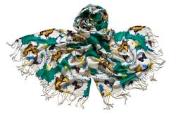 Женский хлопковый зелёный палантин (0778 PAL 3)