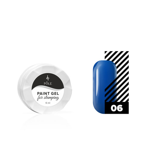 Гель-краска для стемпинга POLE №06 синяя (6 мл.)