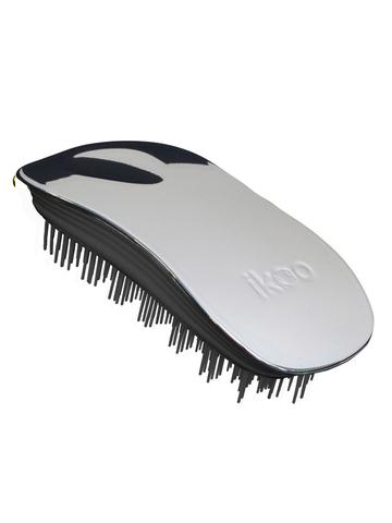 Ikoo Расческа-детанглер для бережного расчесывания устрица Home Oyster Black Metallic
