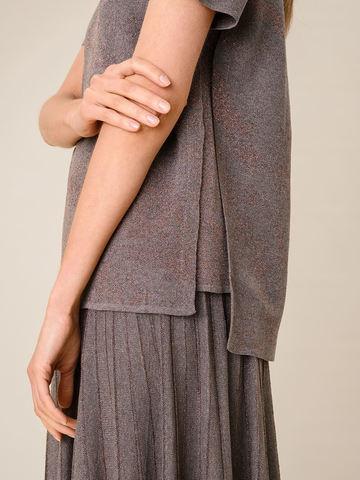 Женская футболка коричневого цвета из вискозы - фото 3