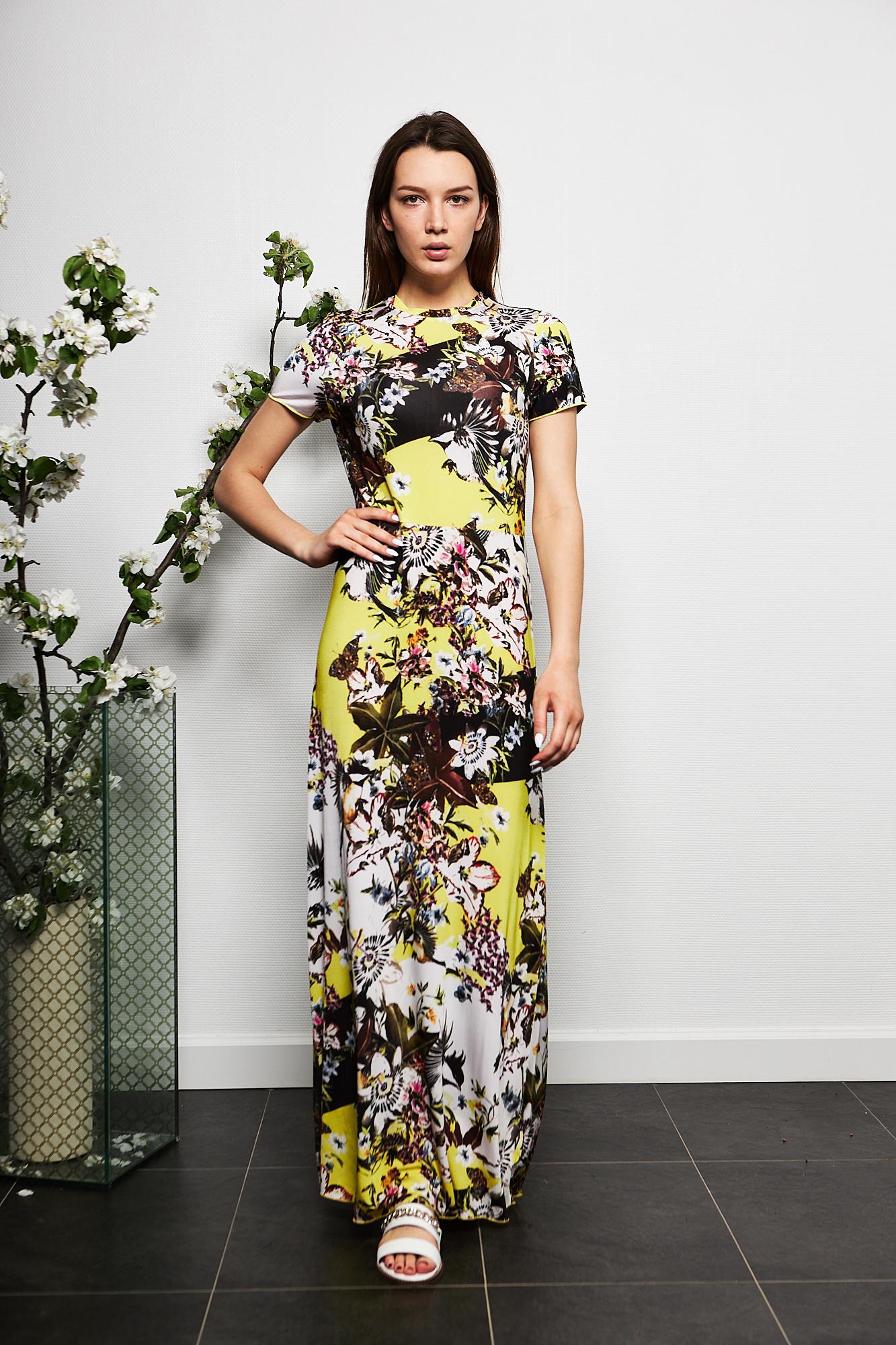 Rene Lezard Платье-макси в цветочный принт