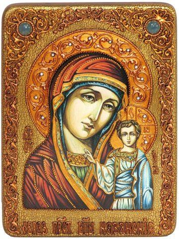 Инкрустированная икона Образ Божией Матери Казанской 29х21см на натуральном дереве в подарочной коробке