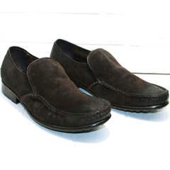 Зимние туфли кожаные мужские Welfare 555841 Dark Brown Nubuk & Fur.