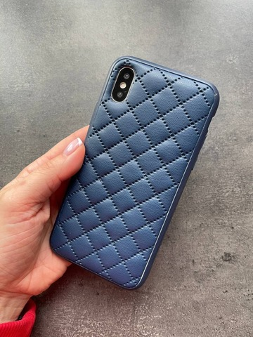 Чехол iPhone XR Quilted Leather case /dark blue/