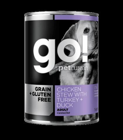 купить GO! Grain free chicken stew with turkey + duck DF консервы беззерновые для собак с тушеной курицей, индейкой и мясом утки
