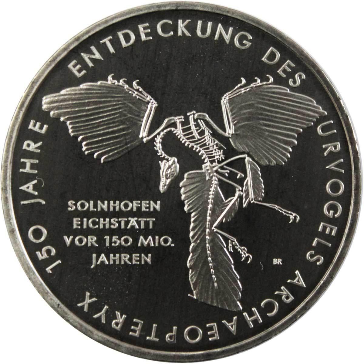 10 евро. 150 лет открытию Археоптерикса (А). Германия. Медноникель. 2011 год