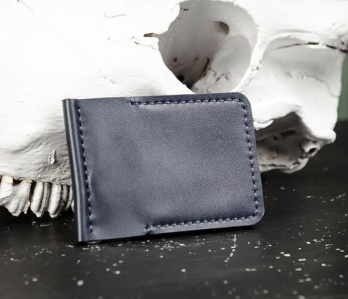 WB178-3 Зажим для денег ручной работы из синей кожи