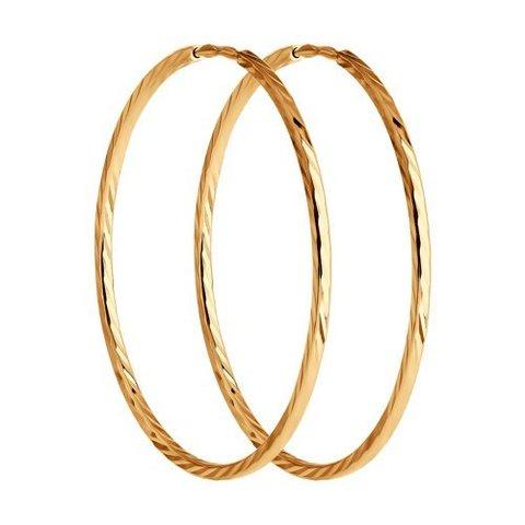 140013  - Серьги-кольца из золота 585 пробы с алмазными гранями Ø 30 мм