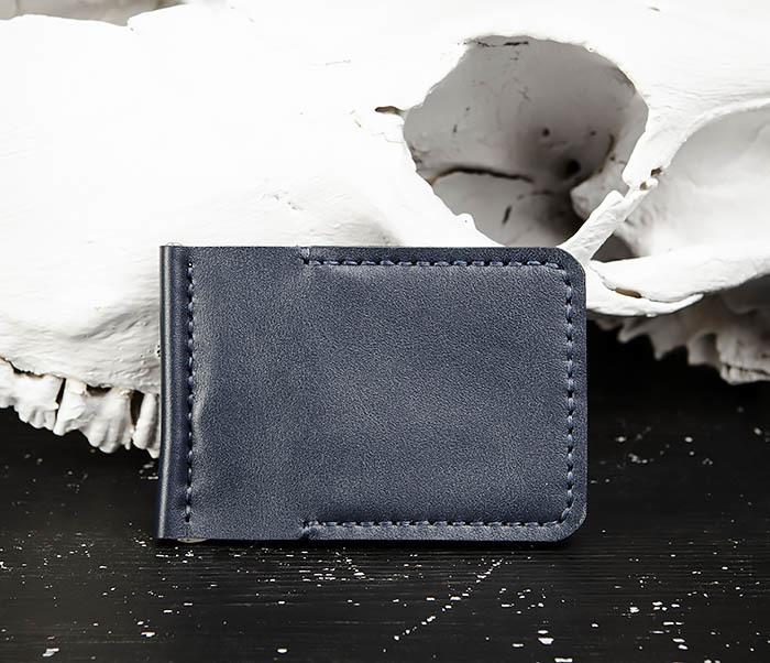WB178-3 Зажим для денег ручной работы из синей кожи фото 02