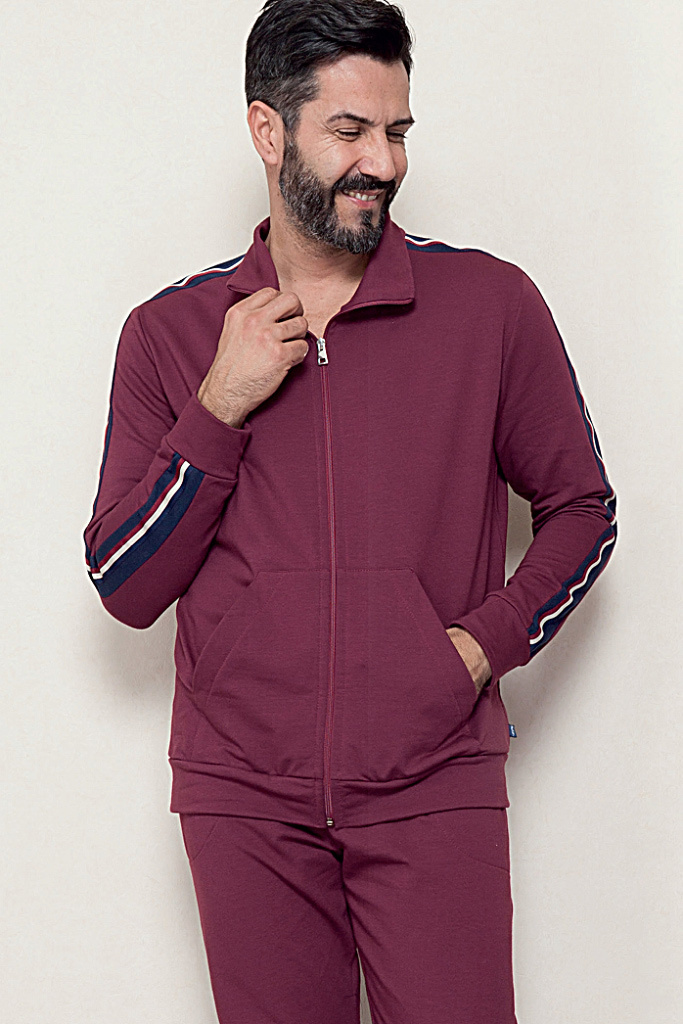 Бордовый мужской костюм на молнии B&B