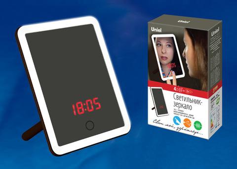 TLD-591 Brown/LED/80Lm/6000K/Dimmer/T+M Настольный светильник — зеркало, 4W. Встроенный аккумулятор 3.7V/600mAh. Сенсорный выключатель. Диммер. Часы. Термометр. Коричневый. ТМ Uniel