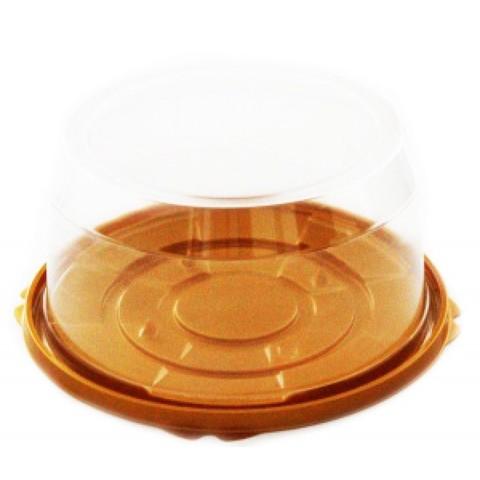 Короб для торта пластик(16*10см) золото