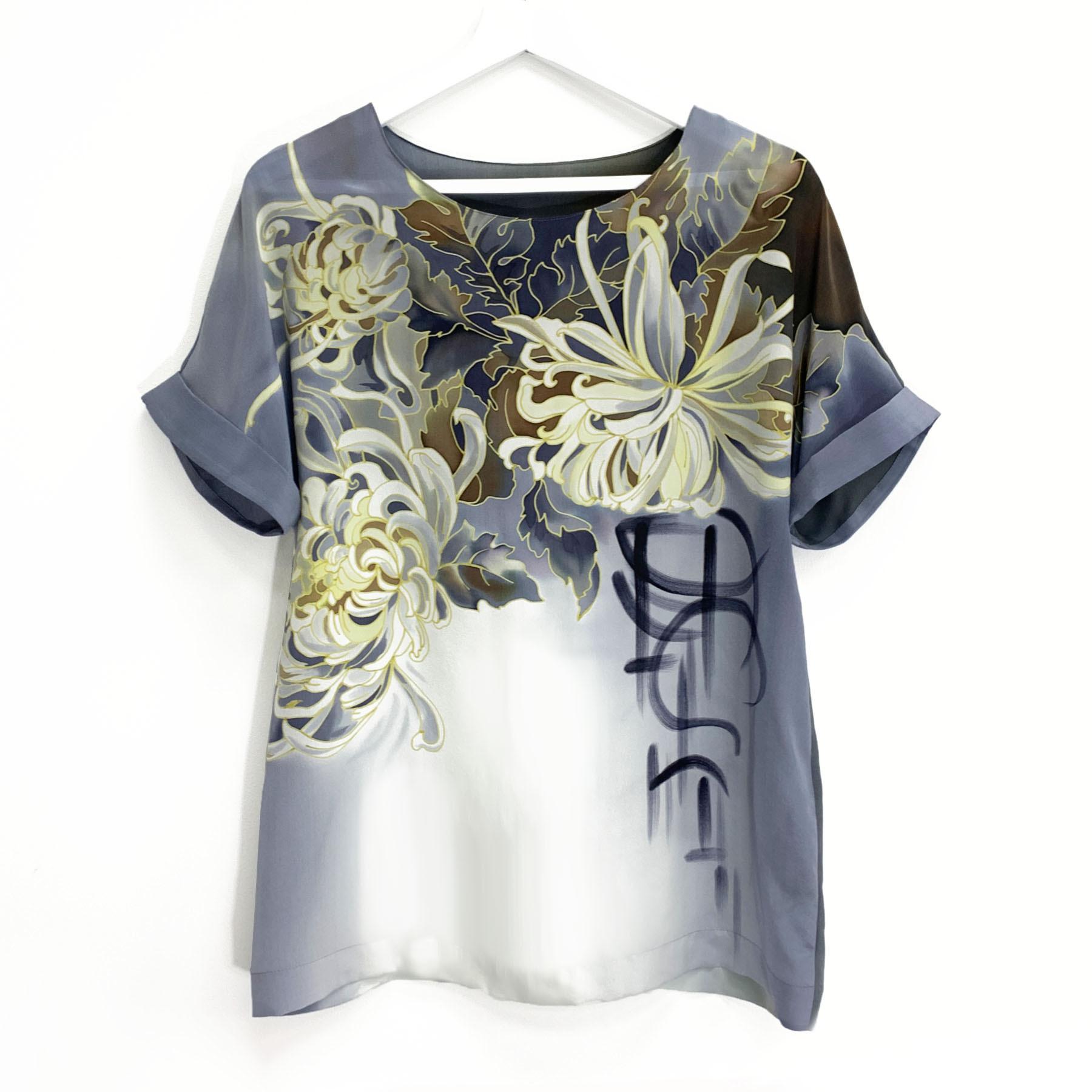 Шелковая блузка батик Хризантема