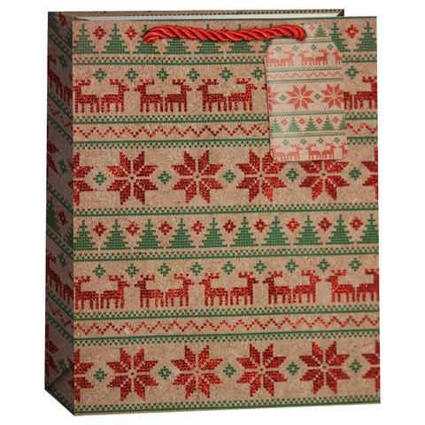 Пакет подарочный, Новогодний орнамент с оленями, Крафт, с блестками, 23*18*10 см
