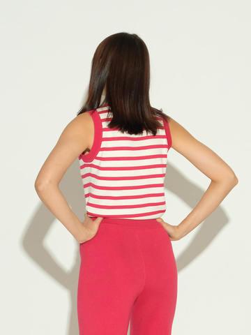 Женский свитер без рукавов в красно-молочную полоску из шелка и кашемира - фото 3