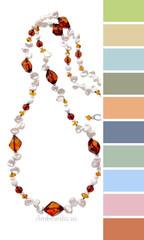 цветовая шпаргалка по подбору одежды - несколько вариантов для бус из янтаря и жемчуга