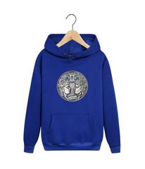 Толстовка синяя с капюшоном (худи, кенгуру) и принтом Знаки Зодиака, Близнецы (Гороскоп, horoscope) 002